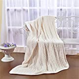 Luxury Quality Fluffy Sherpa Knit Throw Blanket 47''x70'', Fuzzy Blanket for Sofa Couch Chair,Shaggy Quilt Comforter All Season Off White