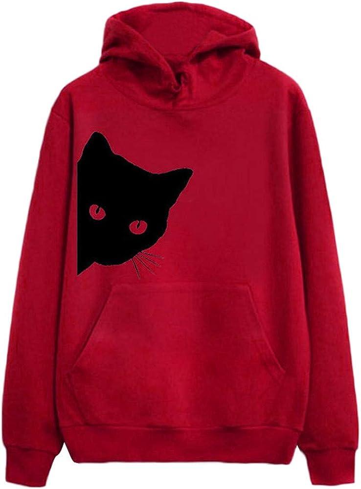 Womens Tops,Sweaters for Women ClearanceCat Print Hoodie Sweatshirt Hoodies Pullover Tops Blouse XL,Red