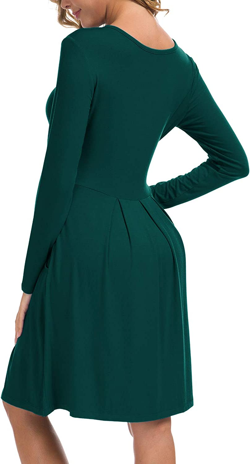 LILBETTER Womens Long Sleeve Pleated Loose Swing Casual Dress with Pockets Knee Length