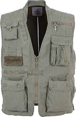 Olive Drab Deluxe Outdoors 18 Pocket Hunting Travel Outback Vest
