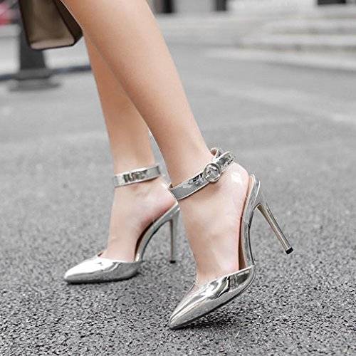 Hauts La Chaussures Cheville Silver Mariage Pompes Pointu De Partie Bal Femmes Court à Bout Fermé Talons Bout Bride qzpW6tx