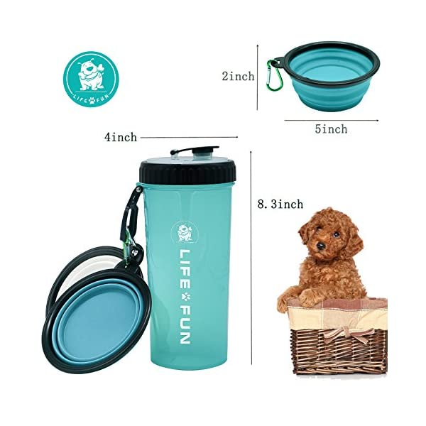 LIFE4FUN Dog Water Bottle for Walking and Food Container 2 in 1 with Dog Water Bowl Collapsible, Travel Dog Water Dispenser for Pets, (XL Size, Blue) 2