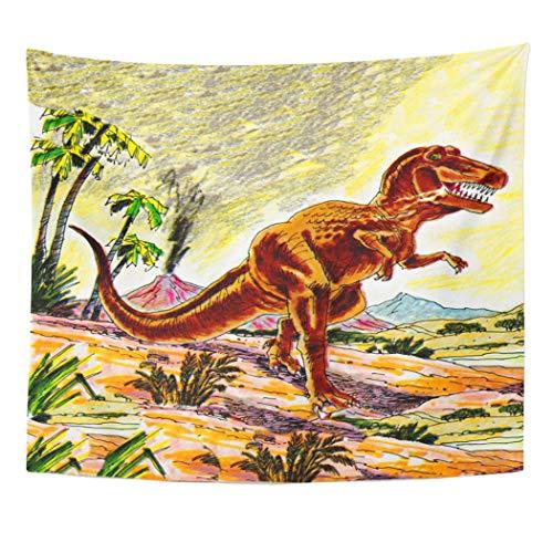 Semtomn Tapestry Artwork Wall Hanging Jack Tyrannosaurus Rex Dinosaur Jill Kids Saturday Evening Post 50x60 Inches Home Decor Tapestries Mattress Tablecloth Curtain Print]()