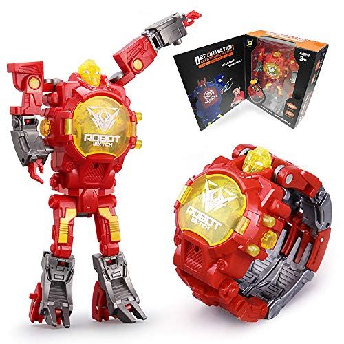 Robot Watch Toys Deformed Watch Toy Deformation Robot Toys Kids Digital Watch for Kids Christmas Halloween New Year's Gift. (Red)
