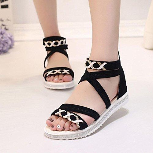 Transer® Damen Sandalen Flach Metall Ankle-strap Künstliches PU+Gummi Schwarz Beige Sandalen (Bitte achten Sie auf die Größentabelle. Bitte eine Nummer größer bestellen) Schwarz