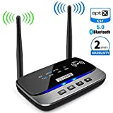 [Upgrade] Long Range Bluetooth 5.0 Transmitter Receiver 3 in 1 Wireless Bluetooth Audio Adapter Support aptX HD & aptX Low Latency, Optical RCA AUX 3.5mm for TV Home Music Streaming Stereo System