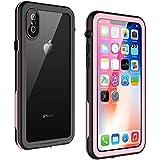 iPhone X Waterproof Case, GOCOOL iPhone X Protective Case, Clear Sound, Slim Profile, Built-in Protector, Full Protective Case for iPhone X, Waterproof, Dirtproof, Snowproof, Pink&Black