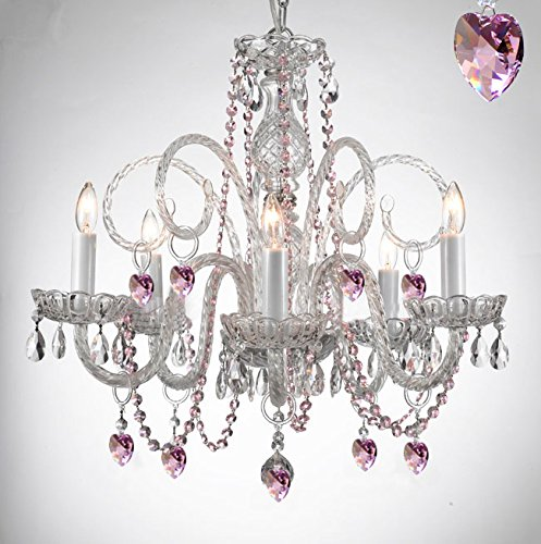Empress Crystal (Tm) Chandelier Chandeliers Lighting with Pink Color Crystal Hearts! PERFECT FOR KID