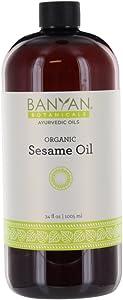 Banyan Botanicals Sesame Oil, 34 oz - USDA Organic - Pure & Unrefined - Ayurvedic Oil for Hair, Skin, Oil Pulling