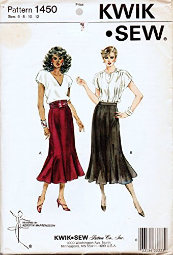 Kwik Sew 1450 Misses Seven Gore Skirt Sewing Pattern Designed for Knit or Woven Fabric Size 6-8-10-12