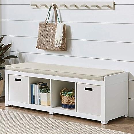 Amazon.com: Cómodo banco organizador de cojín tapizado de ...