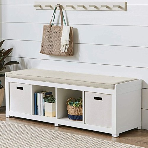 Comfortable Neutral Beige-Toned Faux Linen Upholstered Cushion Organizer Bench (4-Cube, White) (White Way Entry Bench)
