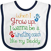 Inktastic - Wrestling Coach like Daddy Baby Bib White/Navy
