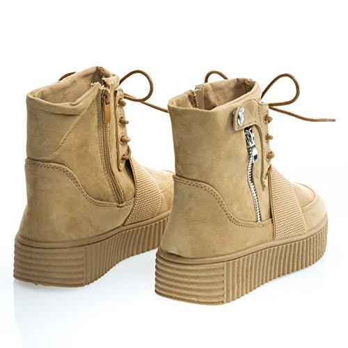Sneaker In Gomma Testurizzata A Coste Flatform Lace Up Combattimento Stivaletto Alla Caviglia Tan