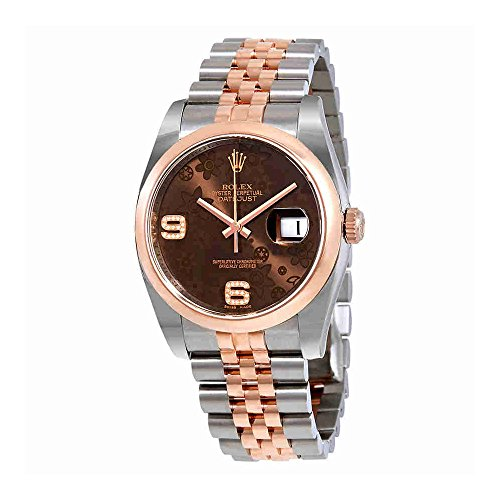 Rolex Datejust 36 Brown Floral Dial Steel and 18K Everose Gold Ladies Watch 116201BRFDAJ