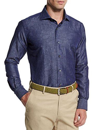 (Peter Millar Tonal Paisley-Print Chambray Sport Shirt Barchetta Blue, L)
