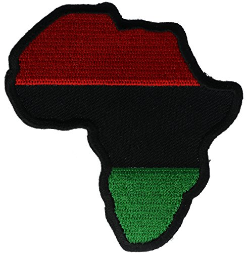 African Africa Art - Pan Africa African Red Black Green Continent Cutout 3 inch Patch IVANP1527