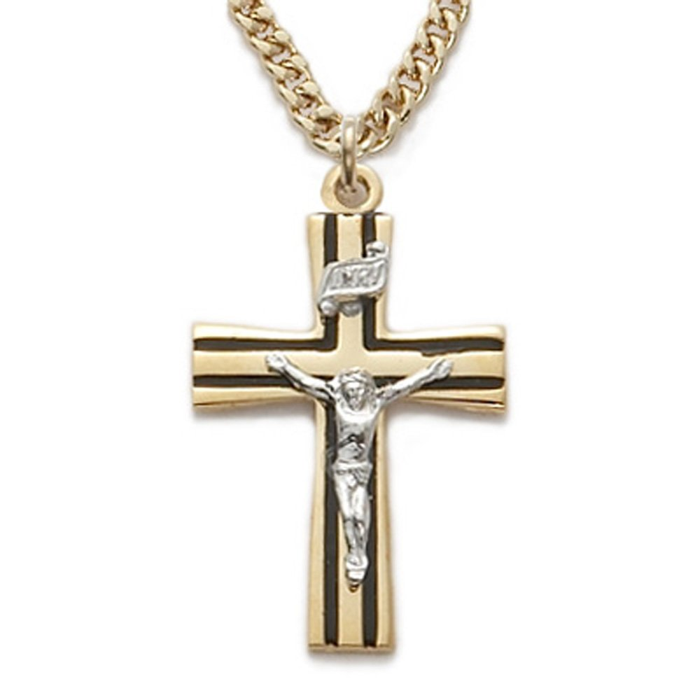 e3d9bef79434 Amazon.com  14K Gold Plated Sterling Silver 2-Tone Crucifix with Black  Enamel Detail