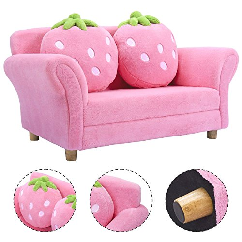 Costzon Children Sofa, Kids Couch Armrest Chair, Upholstered Living Room Furniture, Lounge Bed with Two Strawberry Pillows(Pink)