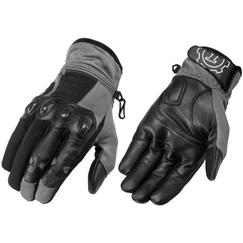 Firstgear 'Mesh-Tex' Mens Dark Gray Leather/Textile Gloves - Small