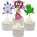 Betop House 24pcs Pinky Princess Themed Birthday Party Baby Shower Decorating Cake and Cupcake Toppers