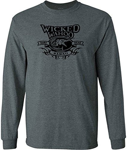 Joe's USA Koloa Wicked Wahoo Surfwear Logo Long Sleeve Cotton T-Shirt-DarkHeath/b-L ()