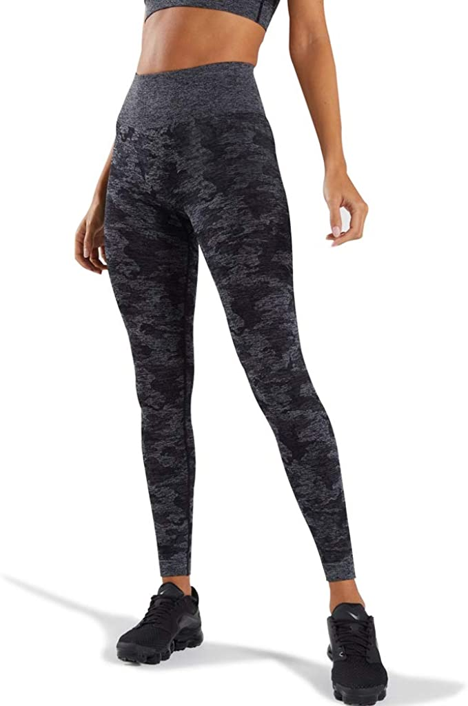 WODOWEI Womens High Waisted Camo Seamless Yoga Pants 7/8 Length Capri Leggings