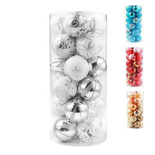 Vanpad 2.36 Christmas Assorted Balls Ornament Set Decorative Baubles Pendants, 24 Pack, White