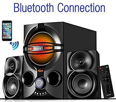 Boytone BT-324F, 2.1 Bluetooth powerful home theater speaker systems, with FM Radio, SD USB ports, digital play back, 40 watts, RGB light, Full function remote control, smartphone, Tablet