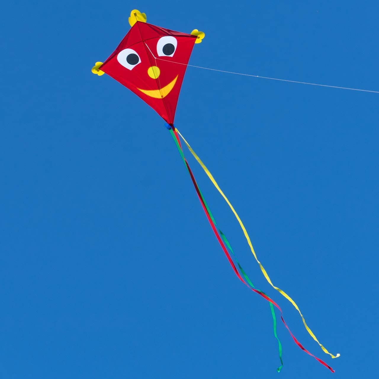 102x108cm single-line kite for children aged 6 and older SUPER KITE Happy Eddy XL including 80m line and stripe tails CIM Big kite for kids