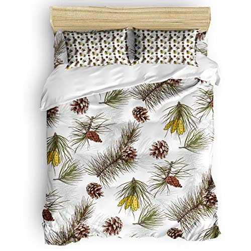 Bedding Duvet Cover Set Christmas Theme Pine Tree Pinecone Skin-Friendly Comforter Cover,4 Piece Bedding Set Includes Bed Sheet, Quilt Cover and Pillowcase Queen -