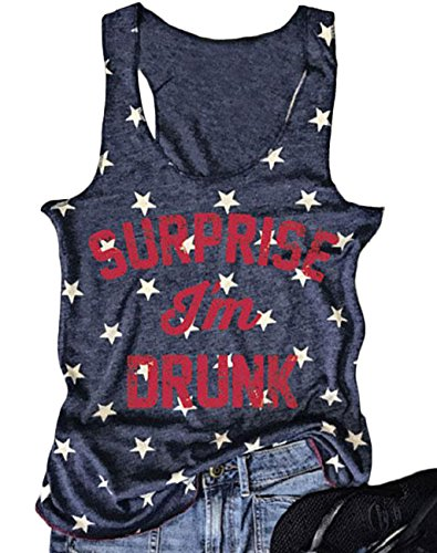 (Women's Summer Letter Print T-Shirt Sleeveless Funny Tank Tops Vest Size Large (Dark Blue))
