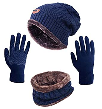 HINDAWI Winter Beanie Hat Scarf Gloves Set for Women Slouchy Snow Knit Outdoor Skull Caps Infinity Scarves Touch Screen Mittens