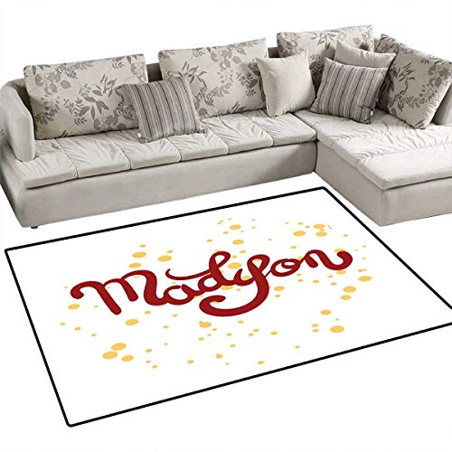Madison Girls Bedroom Rug Modern Calligraphy Design Hand Drawn Cursive Letters Common Girl Name Pattern Door Mat Indoors Bathroom Mats Non Slip 4'x6' Ruby and Mustard ()
