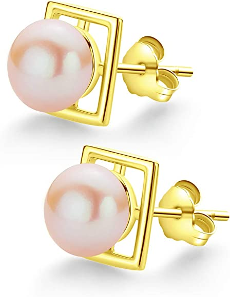 Sterling Silver 4-5mm Pink Freshwater Cultured Round Pearl Stud Earrings