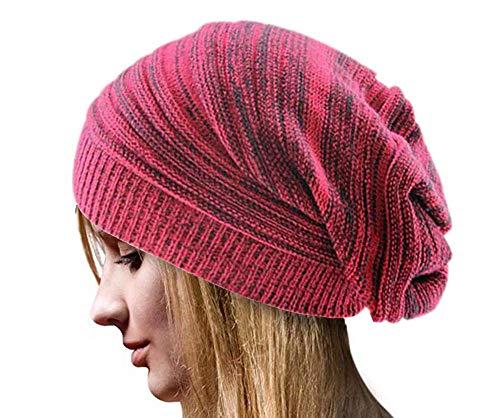 Sandistore Unisex Knit Baggy Beanie Beret Winter Warm Oversized Ski Cap Hat (Red)