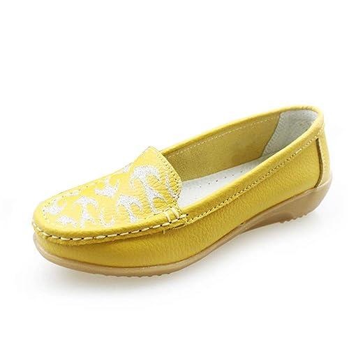 Pisos De Mujer Zapatos De CuñA Baja Mocasines De Cuero De Vaca ResbalóN En El Barco Ocio Mocasines Madre Calzado Informal: Amazon.es: Zapatos y complementos
