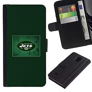 Stuss Case / Funda Carcasa PU de Cuero - JETS Equipo deportivo - Samsung Galaxy Note 4 IV