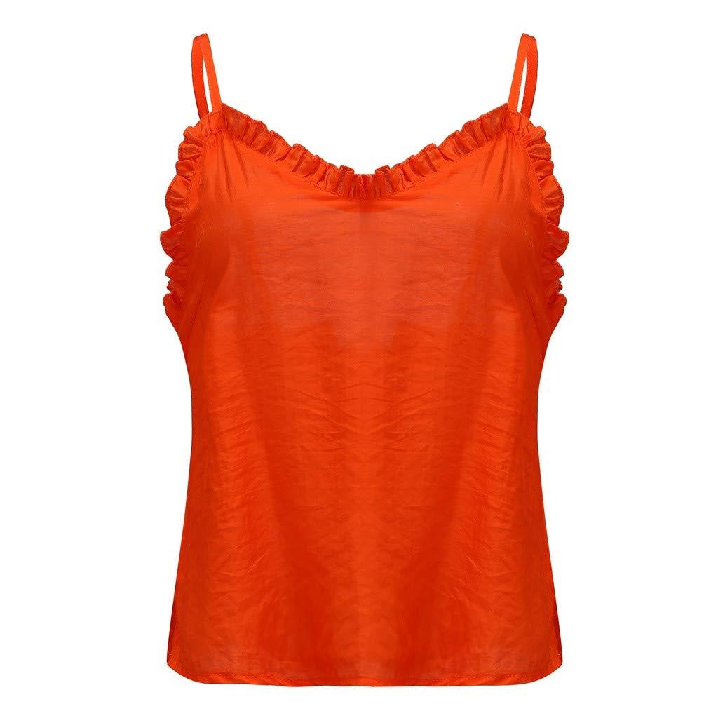 ღ Fashion Down V Neck Strappy Tank Women Top Loose Casual Sleeveless Shirts Blouse