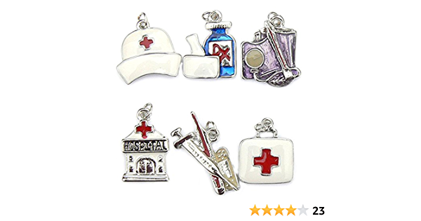 Enamel and Silver Plated Occasions Emporium Medical Wine Glass Charms
