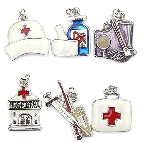 Medical Charms - Enamel and Silver Plated -