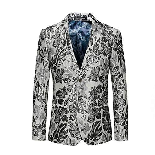 Slim Fit Men's White Floral Blazer Party Stage for for sale  Delivered anywhere in USA