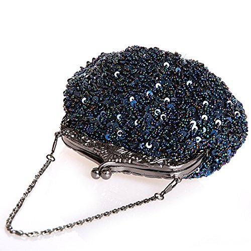 Handmade Navy Handbag Beaded Navy Flada wedding Girls Clutches Womens Sequins Party Blue Prom Blue Rhinestone Evening and ATYxBw