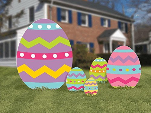 (Amscan Easter Eggs Corrugated Signs Outdoor Party Decoration (5Piece), Multi Color, 24.2