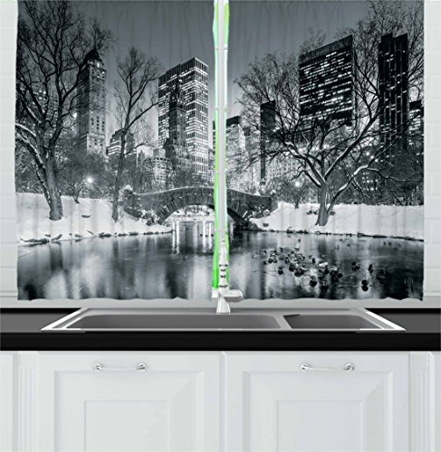 Kitchen Curtains by, Cityscape New York City in Winter Central Park Snowy Buildings Photo Art, Window Drapes 2 Panels Set for Kitchen Cafe, 55W X 39L Inches, Grey and Dimgrey ()