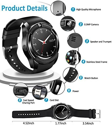 Smart Watch,Smartwatch for Android Phones, Smart Watches Touchscreen with Camera Bluetooth Watch Phone with SIM Card Slot Watch Cell Phone Compatible Android Samsung iOS Phone XS X8 10 11 Men Women 51 2BgfJxs65L
