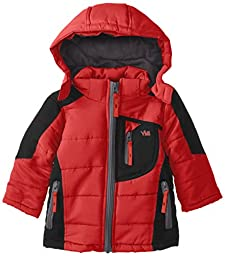 YMI Baby Boys\' Hooded Color Block Jacket Bubble with Detachable Hood, Red, 12 Months