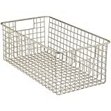 InterDesign Classico Kitchen Pantry Freezer Wire Basket Organizer, Deep, Satin