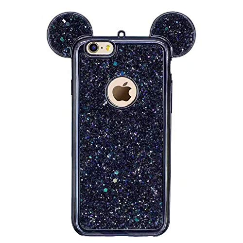 Luxury Glitter Case for Samsung Galaxy S10,Aoucase Bling Diamond Cute Cartoon 3D Mouse Ears Design Soft TPU Electroplate Bumper Drop Protection Case with Black Dual-use Stylus,Black