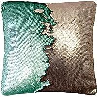 Bambury Shimmer Square Cushion, Mint/Bronze